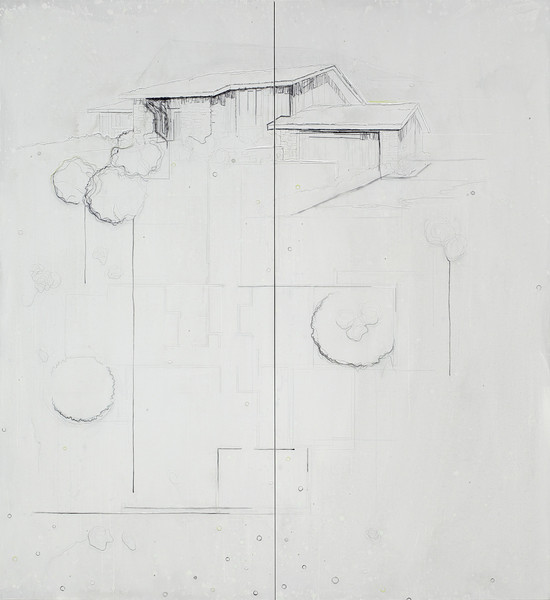 Point - Acryl en draad 244x224cm