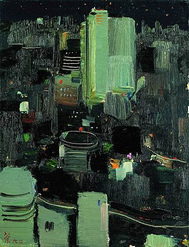 Tokio at Night - 41x31cm Olieverf