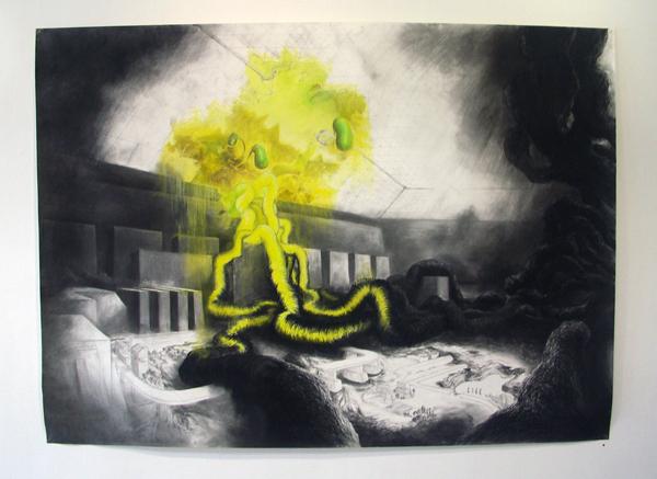 Dennis Amatdjais - De Constructie Van Verwoesting - 208x250cm Houtskool, pastel, potlood en syberisch krijt