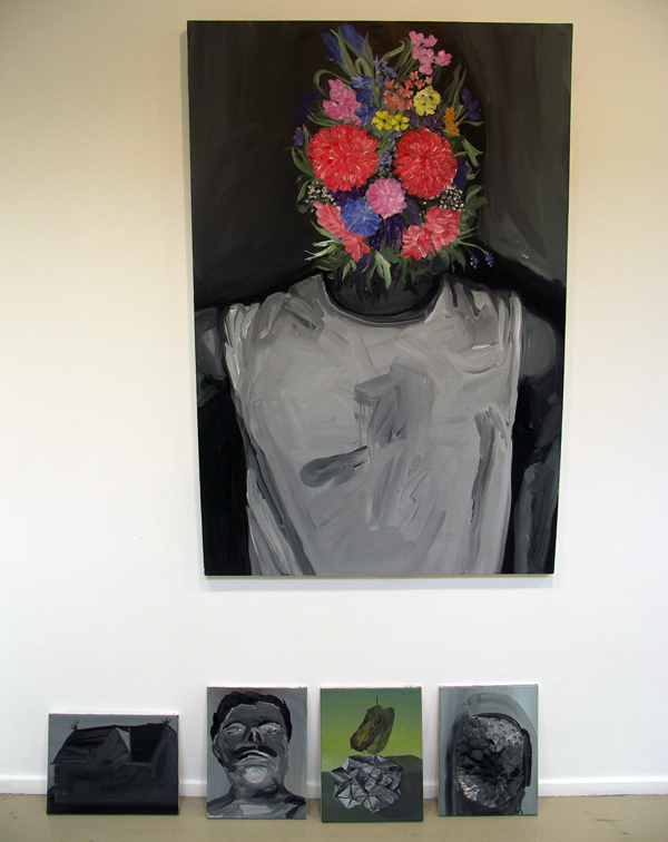 Martien van den Hoek - Zonder Titel - 150x100cm Acryl op linnen - En diverse werkjes