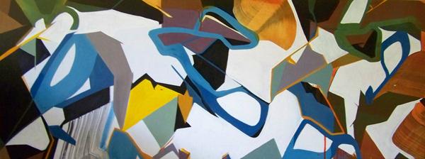 NLL - 160x65cm olie- en lakverf op canvas