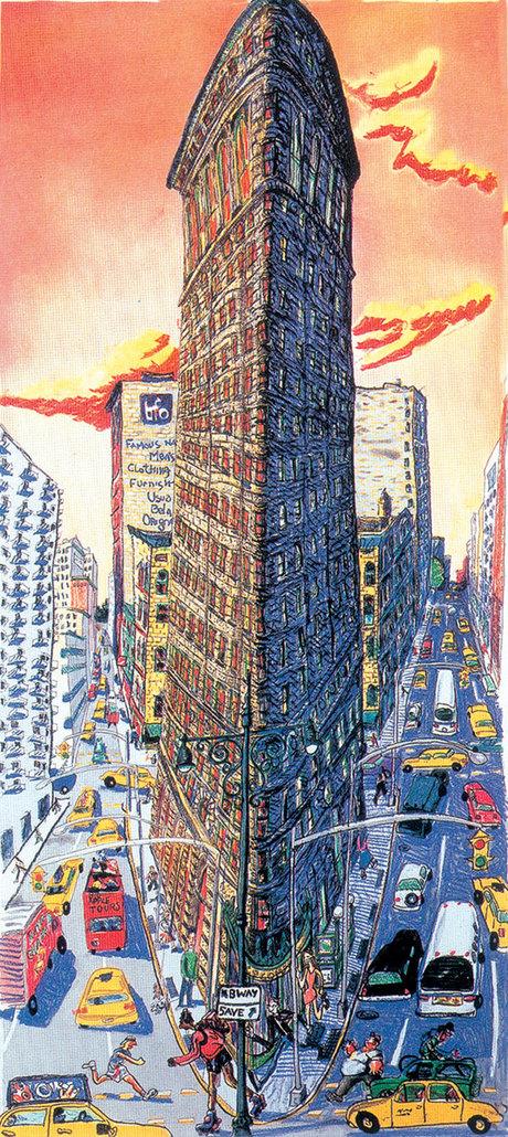 Red Grooms - Flatiron Building - 36x18inch Ets en aquatint in 5 kleuren op papier