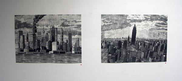 Rik Smits - Scorpodian Skyline en The Mammoth Building by Dawn - 50x70cm Gratieftpotlood