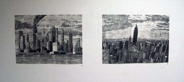 Rik Smits - Scorpodian Skyline en The Mammoth Building by Dawn - 50x70cm Gratieftpotlood