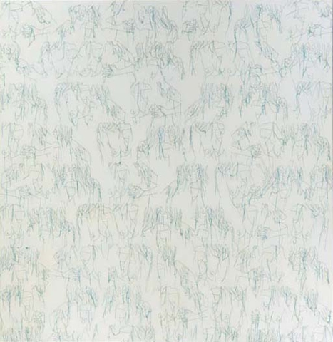 The Large White Painting - 183x178cm Acrylverf draad en gelmedium