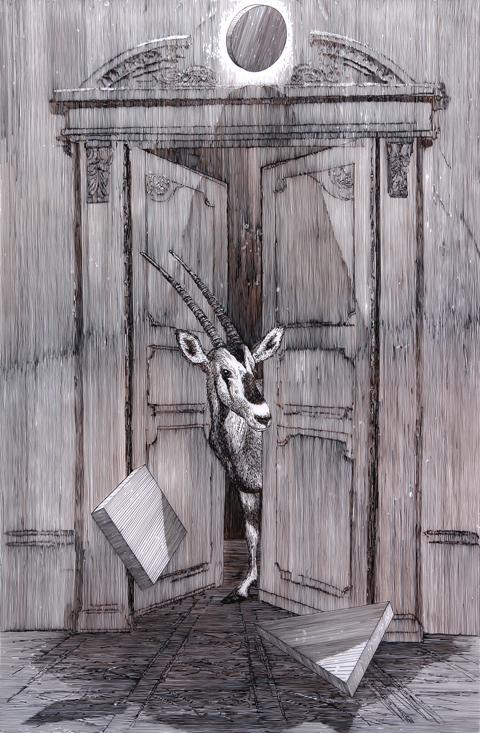 Daniel Arsham - Ibek - 155x103cm Gouache op mylar