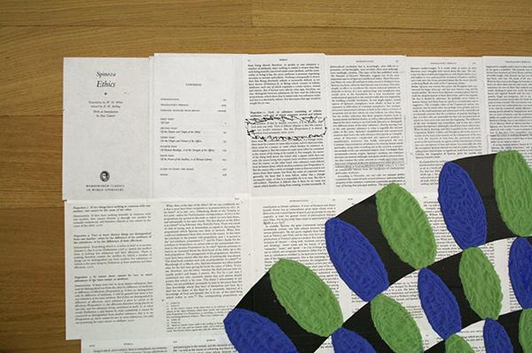 Job Koelewijn - Nursery Piece - Zand, pigment, stickers eucalyptus en Spinoza op papier (detail)
