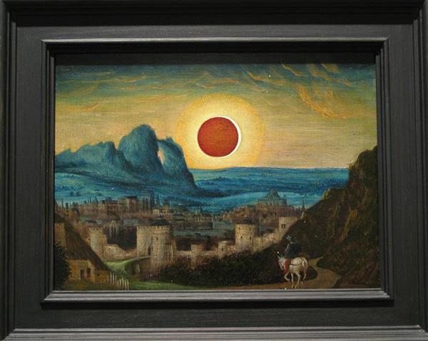 Laurent Grasso - (Studies into the Past) Eclipse - 22x31cm Olieverf op paneel