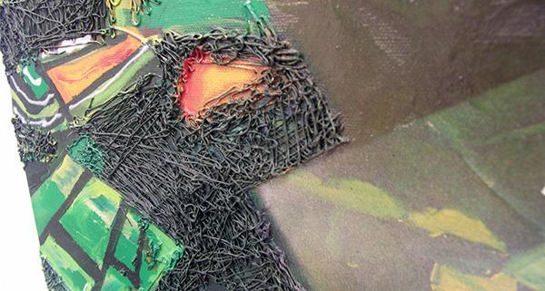 Aquil Copier - Geen Titel - 70x70cm Olieverf en aribrush op doek (detail)