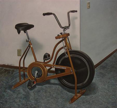 Exercise Bike - 24x36inch Olieverf op linnen op paneel