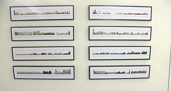 Karin van Bodegom - City Shapes - 100x200cm Collage potlood en pen