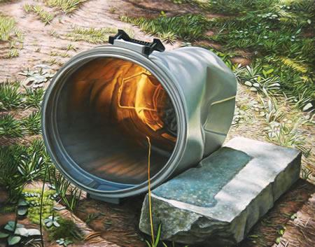 Round Thrashcan - 7x9inch Olieverf op paneel