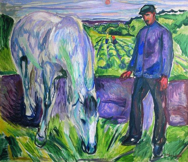Edvard Munch, Man met paard, 1918