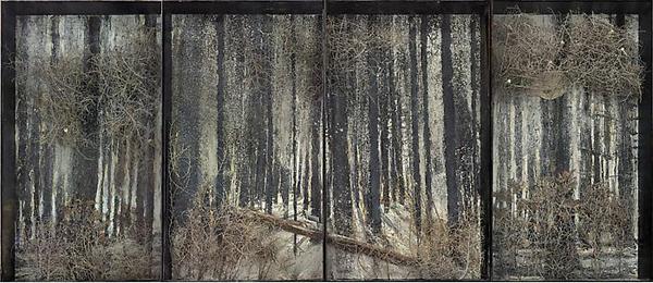 Fitzcarraldo - 332x768cm Olieverf, acrylverf, shellak, as, stukjes struik, was, kunststof tanden, lood met roest op canvas in vitrine van glas en staal
