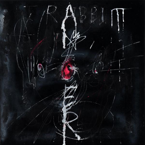 Rabbit Anger - 50x50cm Acrylverf, hars en Oost-Indische inkt op canvas