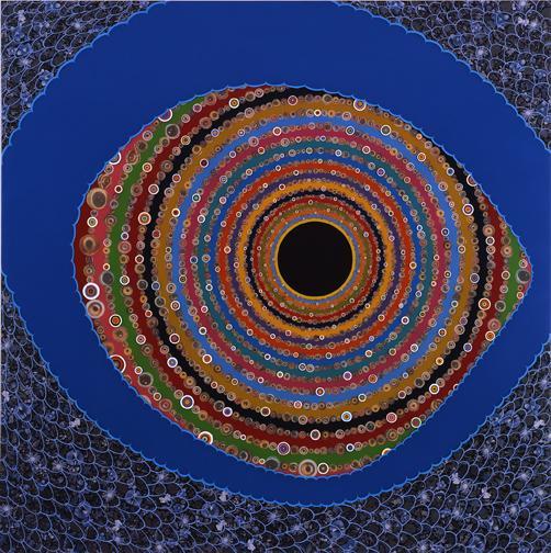 Big Eye - 82x82inch Fotocollage met acrylverf en hars op een houten paneel