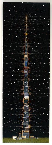 Big Stack - 120x40inch Fotocollage met acrylverf en hars op houten paneel