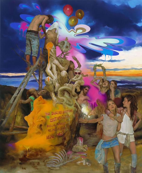 Die disziplinierende Zeit steht still - 220x180cm Olieverf op canvas