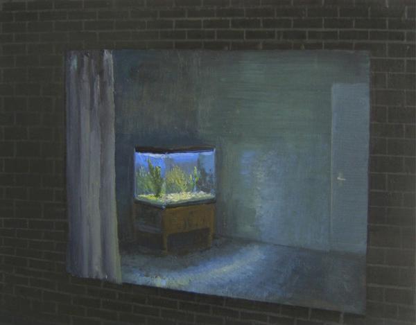 Kamer met aquarium - 25x30cm Olieverf op paneel