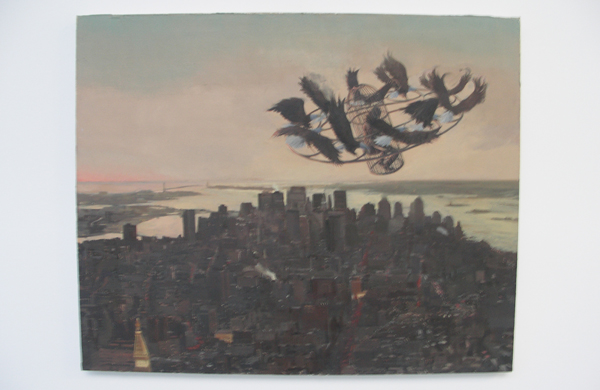 Pere Llobera - Flying Away From Queens - 81x100cm Olieverf op canvas op hout