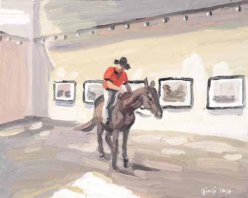 騎馬的杜卡 - 40x50cm Olieverf op canvas