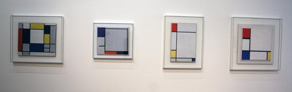 Piet Mondriaan - Diverse composities met zwart wit rood geel en blauw