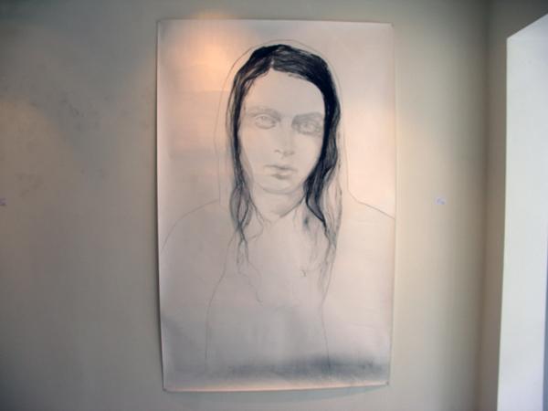 Anouk Griffioen - Maria - 235x150cm Houtskool, conte, grafiet op papier