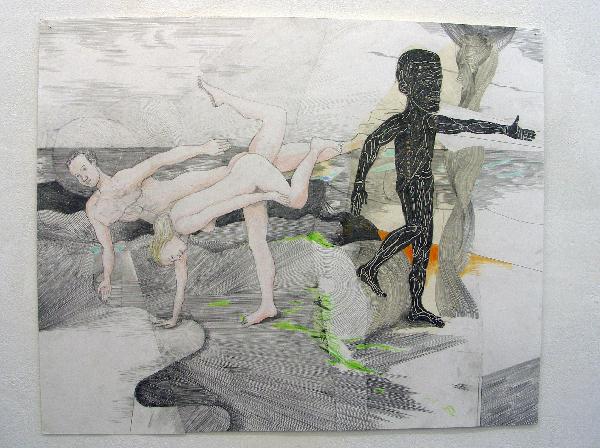 Roland Sohier - Aan Zee - 80x100cm Potlood, kleurpotlood en papiercollage op papier