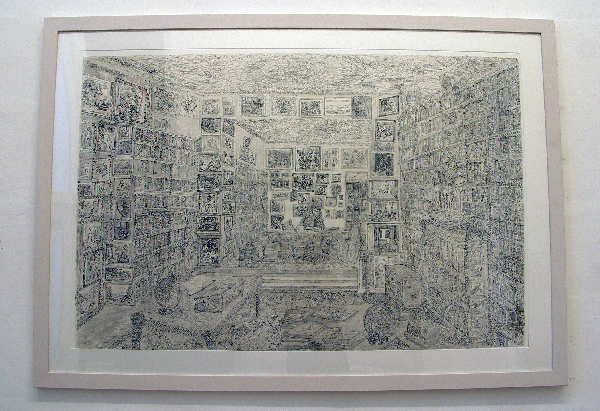 Jan de Bie - Bibliotheek - 90x160cm Potlood, collage, inkt op papier