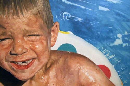 Child In Pool -60x90cm Olieverf op canvas