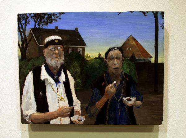 Thijs Janssen - De Vleeseters - 24x19cm Olieverf op paneel
