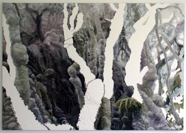 Jocye van Dongen - Zonder Titel - 140x200cm Olieverf en borduursel op canvas