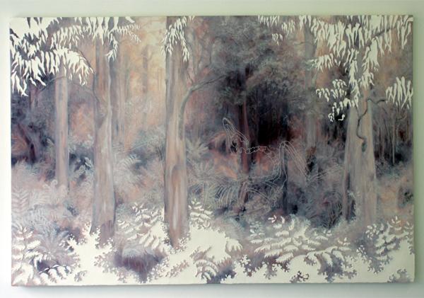 Jocye van Dongen - Zonder Titel - 113x170cm Olieverf en borduursel op canvas