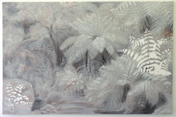 Jocye van Dongen - Zonder Titels - 113x170cm Olieverf en borduursel op canvas