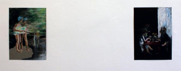 Line Gulsett - 4-2 & Speilvendt - 21x29cm Oliepastel op papier