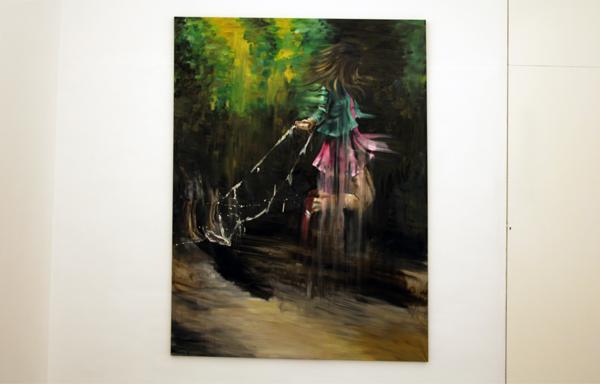 Line Gulsett - Cheap Pink - 150x200cm Olieverf en acrylverf op canvas
