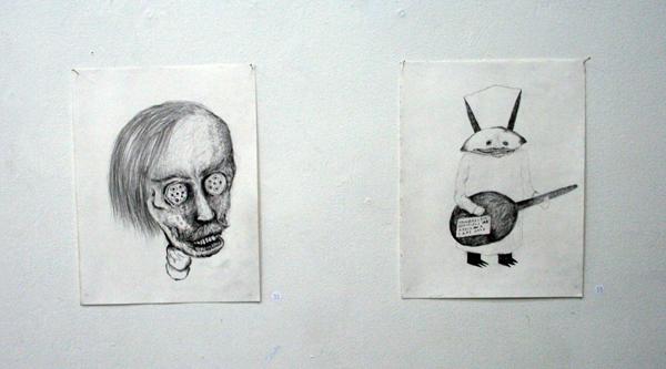 Sebastiaan Schlicher - Fish Eyes Eyes & Transmitter - 30x22cm Potlood op papier