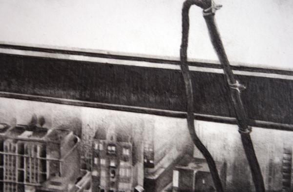 Andreas Albrectsen - Atop a skyscraper- 50x70cm Graftiet op papier (detail)