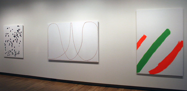 Evi Vingerling (1979) - Zonder Titel, Feestverlichting & Zonder Titel - Olieverf op doek, Gouache op linnen & Olieverf op doek