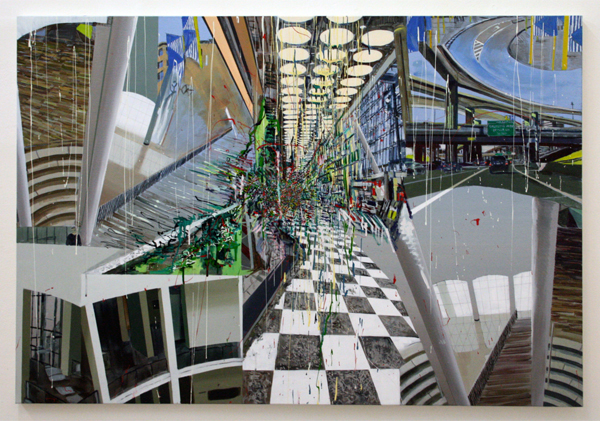Yujin Kang - From Heathrom Terminal 5 to Dallas - 90x130cm Enamel en acrylverf op canvas