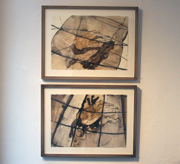 Caren van Hegwaarden - Relief I & II - 45x60cm Gouache, aquarel en conte op papier