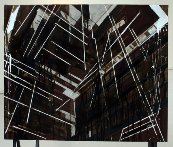Carole Vrijhoeven - Untitled - Bitumen, acrylverf en alkydverf op canvas