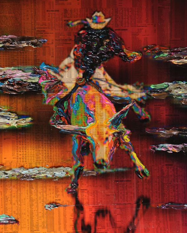 Gordon Cheung - The Promised Land - 163x489cm Inkt, arcylgel en spuitbus op beurspagina op zeil (detail)