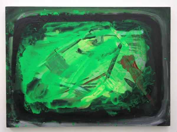Jop Vissers - Groene verfbak - 72x100cm Acrylverf, oliverf, lak en spuitbus op canvas