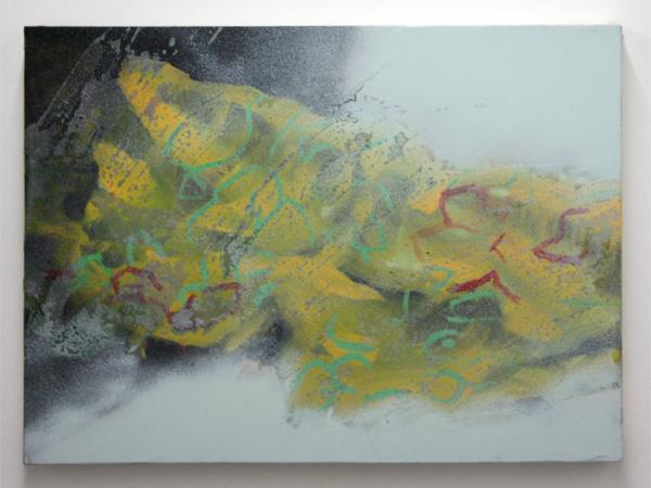 Jop Vissers - Kleedje - 57x78cm Acrylverf, olieverf, lak en spuitbus op canvas