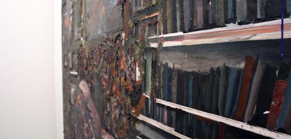 Tjebbe Beekman - Der Psychoanalytiker - 150x122cm Acrylverf, enamel en zand op canvas op paneel (detail)_2