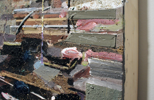 Tjebbe Beekman - Office 1 - 130x102cm Acrylverf, enamel en zand op canvas op paneel (detail)