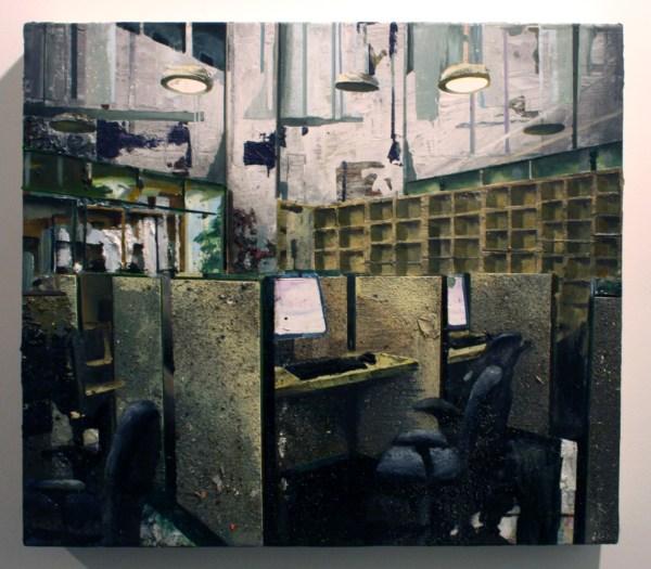 Tjebbe Beekman - Office II - 84x74cm Acrylverf, enamel en zand op canvas op paneel