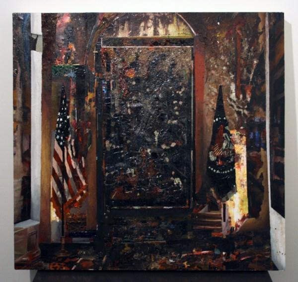 Tjebbe Beekman - X-mas at the White House - 113x107cm Acrylverf, enamel en zand op canvas op paneel