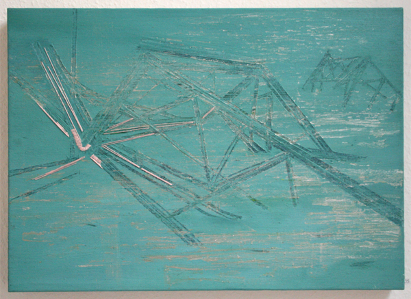 Huub van der Loo - After Pinking NY (All is falling II) - 50x70cm Olieverf en naaigaren op linnen